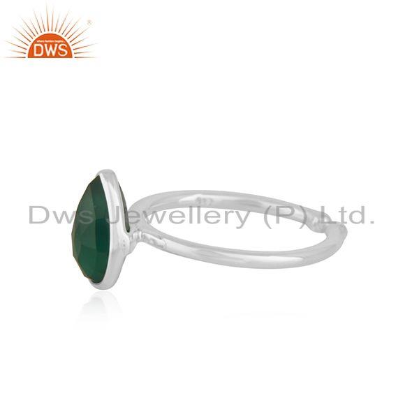 Exporter Green Onyx Gemstone Handmade Fine Stering Silver Ring Manufacturer india