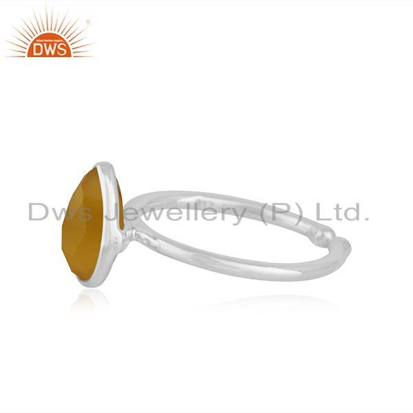 Exporter Yellow Chalcedony Gemstone Fine Sterling Silver Ring Manufacturer Jaipur