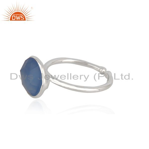 Exporter Blue Chalcedony Gemstone 925 Fine Silver Ring Manufacturer in Jaipur