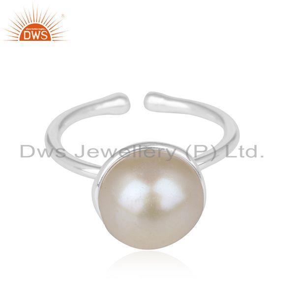 Wholesale Natural Pearl Gemstone Handmade Fine Sterling Silver Ring Suppliers