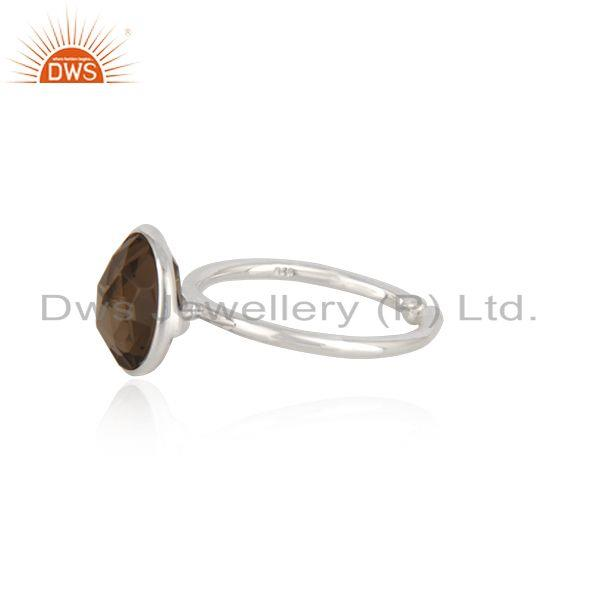 Exporter 92.5 Sterling Silver Smoky Quartz Gemstone Simple Ring Wholesale Supplier