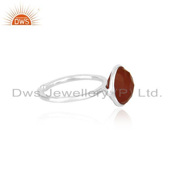 Exporter Red Onyx Gemstone 925 Sterling Fine Silver Simple Design Ring manufacturer INdia