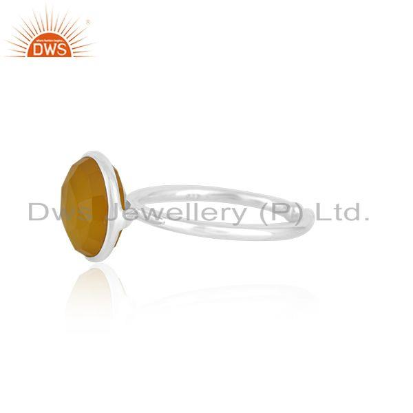 Exporter Yellow Chalcedony Gemstone 925 Fine Silver Simple Design Ring Manufacturer