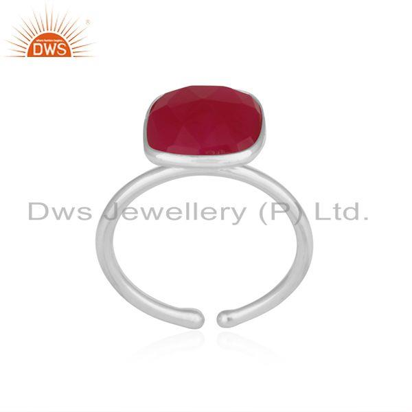 Exporter Bezel Set Pink Chalcedony Gemstone 925 Fine Silver Ring Manufacturer India