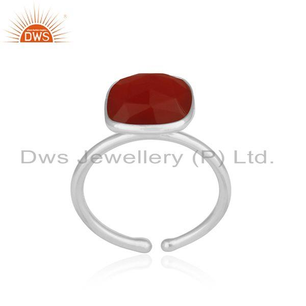 Exporter Red Onyx Gemstone Simple Design Fine Sterling Silver Ring Jewelry Supplier