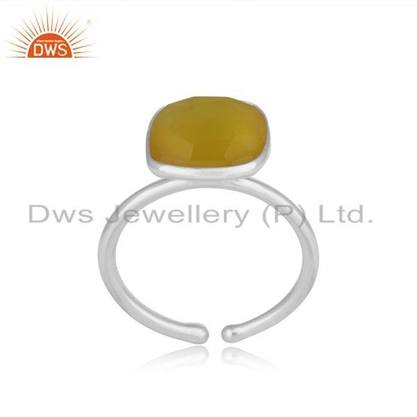 Exporter Yellow Chalcedony Simple Design 925 Fine Silver Unisex Ring Manufacturer Jaipur