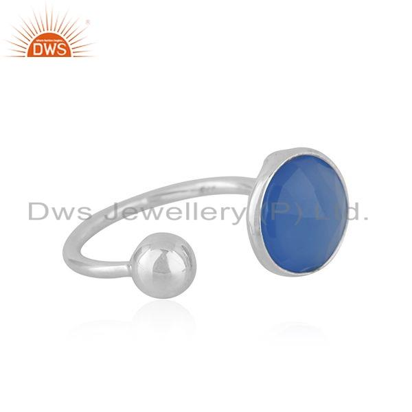 Exporter Sterling Fine Silver Blue Chalcedony Gemstone Designer Rings Jewelry