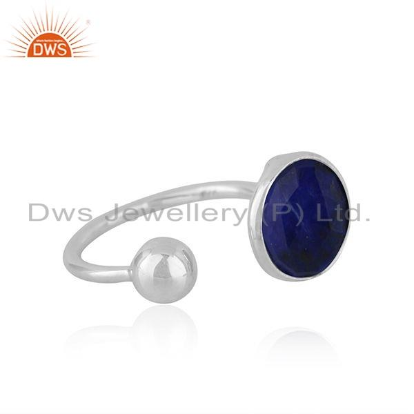 Exporter Natural Lapis Gemstone Designer 925 Silver Womens Rings Jewelry