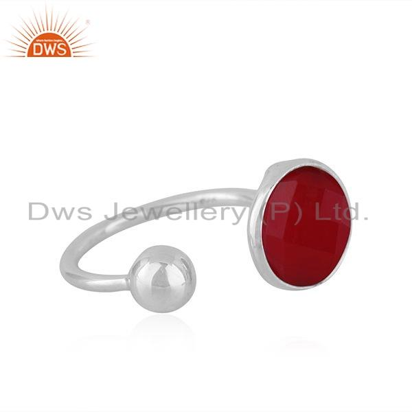 Exporter Pink Chalcedony Gemstone Manufacture Sterling Silver Rings Jewelry