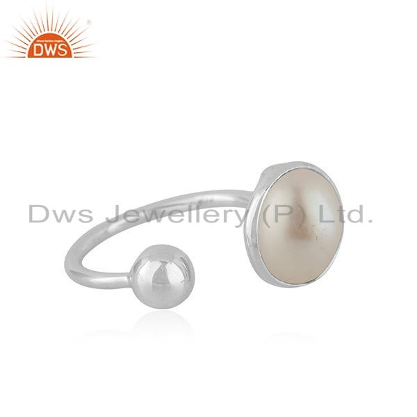 Exporter New Arrival Natural Pearl Gemstone Fine Silver Womens Ring Jewelry