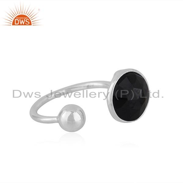 Exporter Natural Black Onyx Gemstone Designer 925 Silver Ring Jewelry Supplier