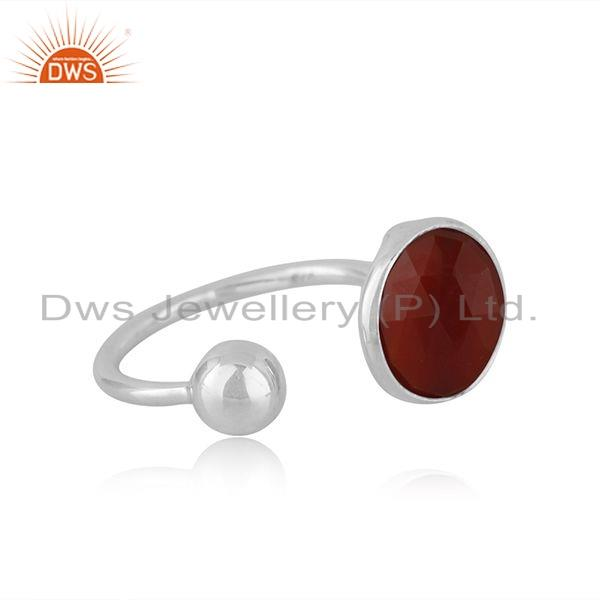Exporter Red Onyx Gemstone Womens 925 Silver Designer Ring Manufacture