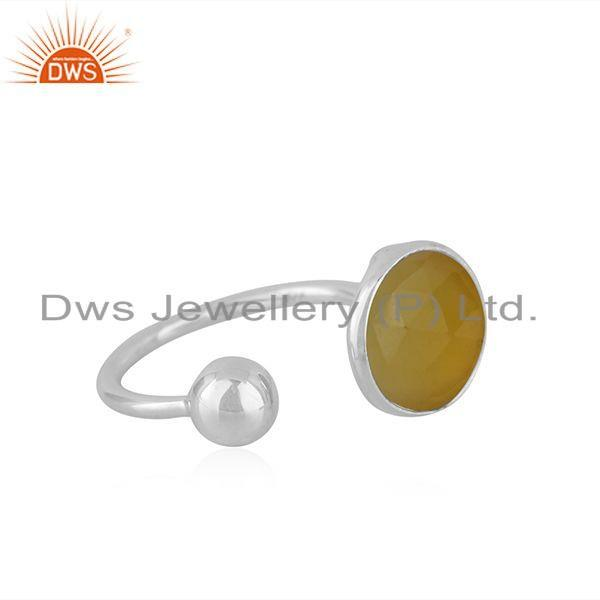Exporter Yellow Chalcedony Gemstone Wholesale Sterling Silver Ring For Womens