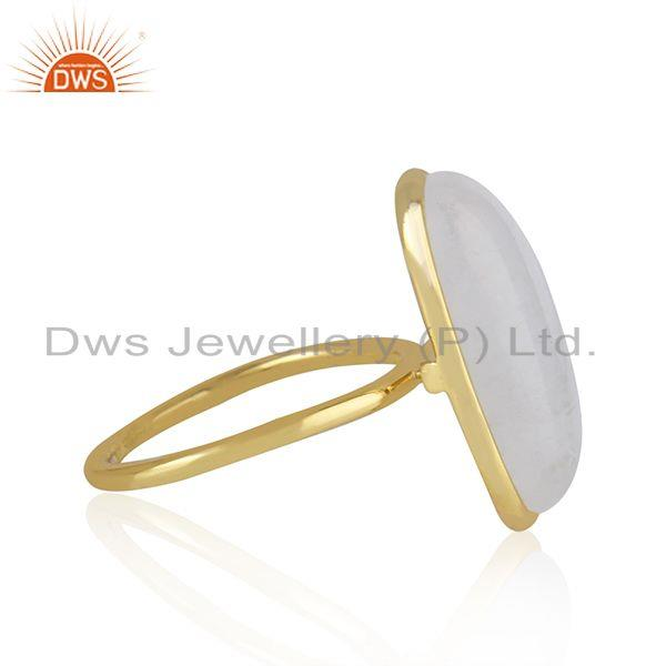 Exporter Rainbow Moonstone Gold Plated 925 Sterling Silver Handmade Rings