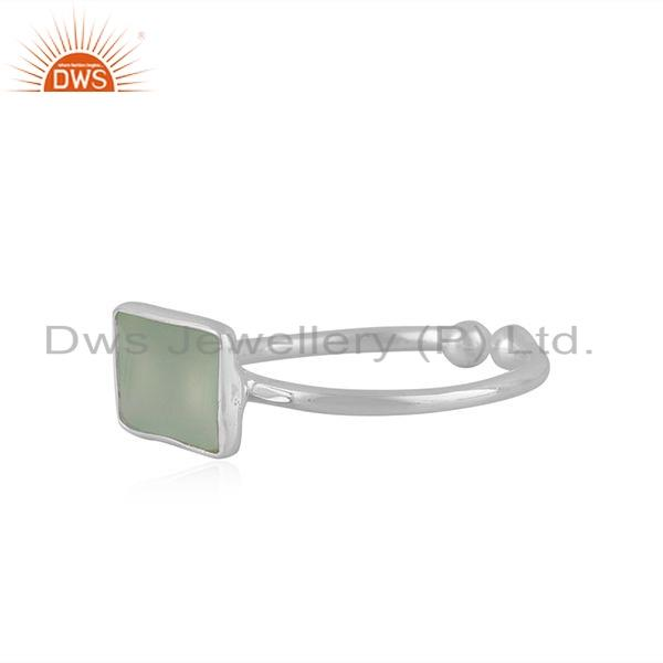 Exporter New Sterling Fine Silver Prehnite Chalcedony Gemstone Ring Jewelry