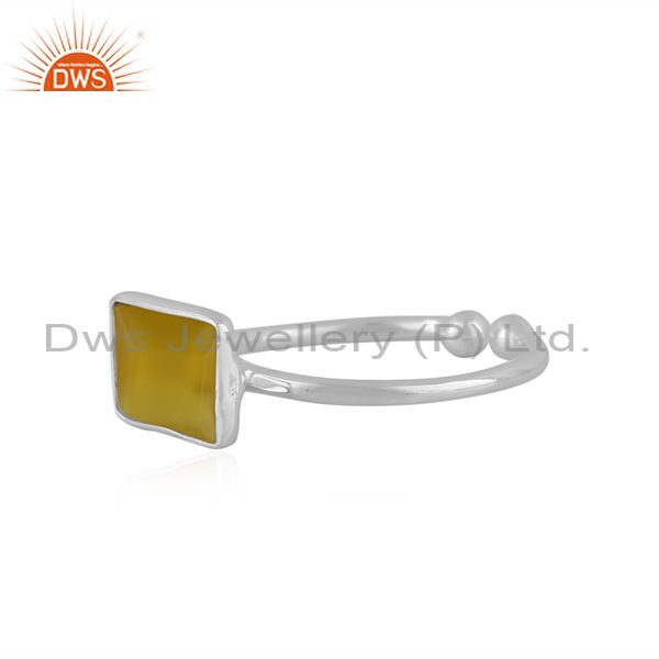 Exporter Natural Yellow Chalcedony Gemstone 92.5 Sterling Silver Ring Jewelry