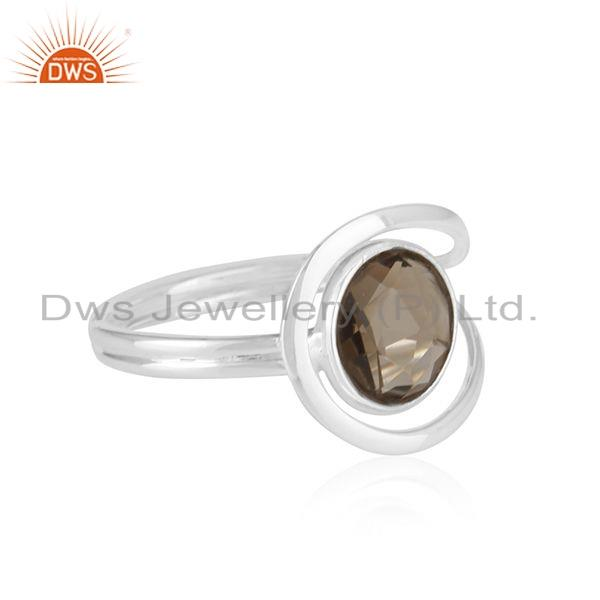 Exporter Smoky Quartz Gemstone Handmade 925 Sterling Fine Silver Ring Supplier