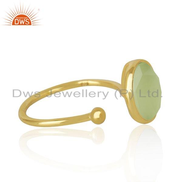 Exporter 18k Gold Plated 925 Silver Prehnite Chalcedony Gemstone Ring Jewelry