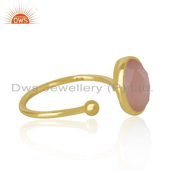 Exporter Rose Chalcedony Gemstone Gold Plated Silver Ring Jewelry For Womens