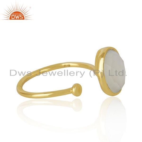 Exporter Natural Pearl Gemstone Yellow Gold Plated Silver Handmade Ring Jewelry