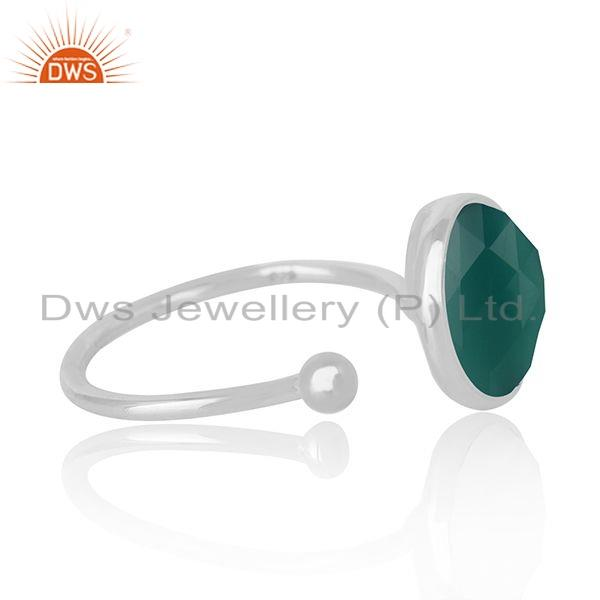 Exporter Natural Green Onyx Gemstone Designer 925 Sterling Silver Ring Jewelry