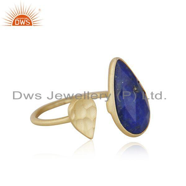 Exporter 18k Gold Plated 925 Silver Natural Lapis Lazuli Gemstone Ring Jewelry