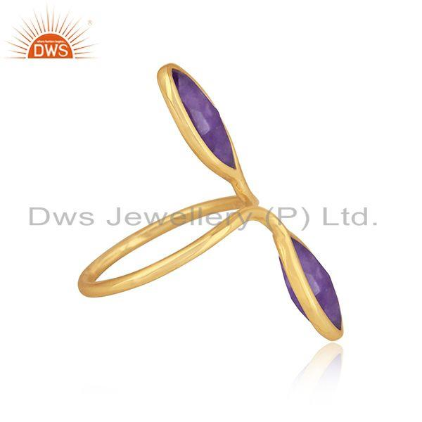 Natural aventurine gemstone 18k gold plated silver girls rings
