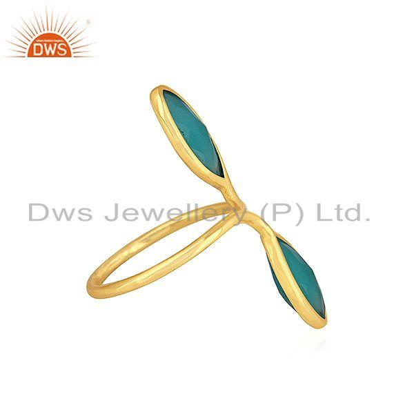 Exporter Aqua Chalcedony Gemstone Gold Plated Designer Silver Cocktail Rings