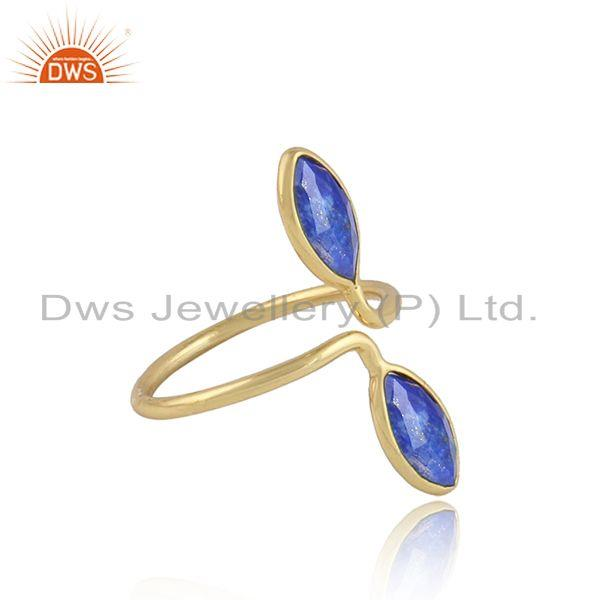 Lapis lazuli gemstone 18k gold plated designer womens rings