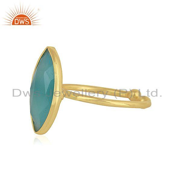Exporter Marquise Shape Aqua Chalcedony Gemstone Silver Gold Plated Rings