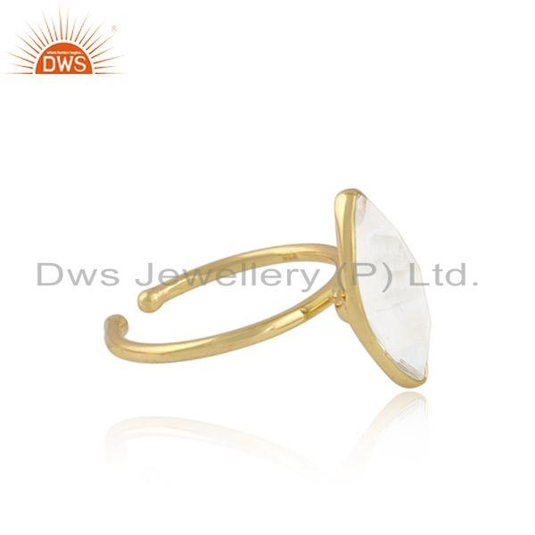 Crystal quartz gemstone 18k yellow gold plated 925 silver rings