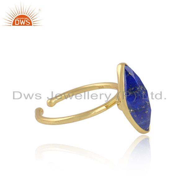 Lapis lazuli gemstone designer gold plated womens silver rings