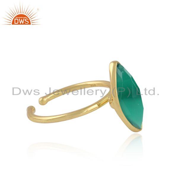 Handmade 18k gold plated 925 silver green onyx gemstone rings