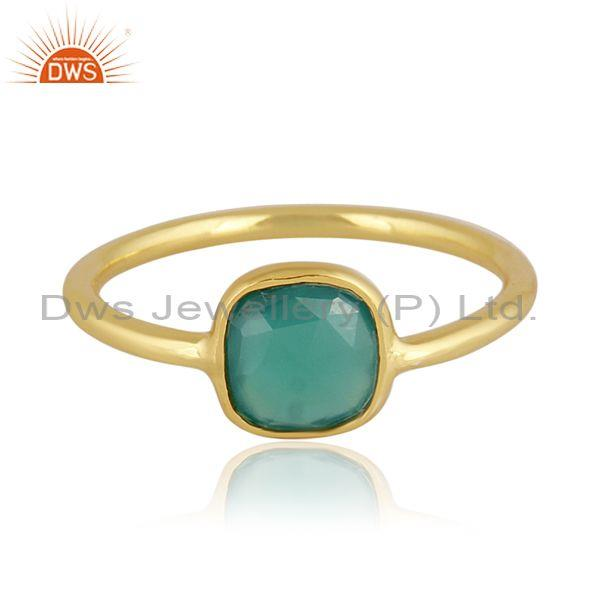 Rectangular green onyx set gold on 925 sterling silver ring