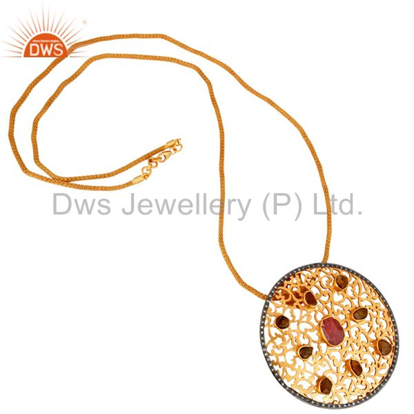 Exporter 18K Gold Plated Sterling Silver Raw Tourmaline Pendant With Wire Mesh Necklace
