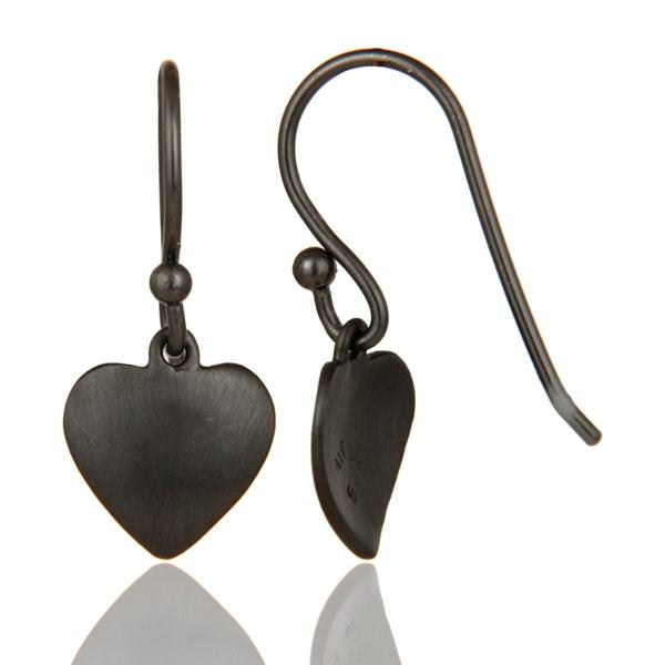 Suppliers Heart Design Black Rhodium Plated Sterling Silver Handmade Earrings