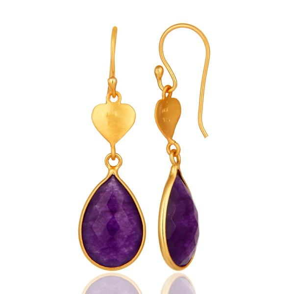 Suppliers Gold Plated Sterling Silver Aventurine Amethyst Bezel-Set Drop Earrings