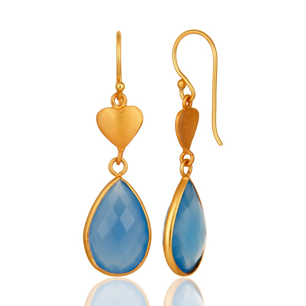Suppliers Faceted Blue Chalcedony Gemstone Dangle Earrings In 18K Gold On Sterling Silver