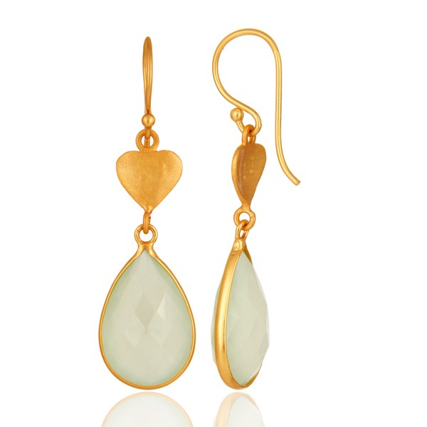 Suppliers Faceted Green Chalcedony Gemstone Sterling Silver Earrings With 18K Gold Plated
