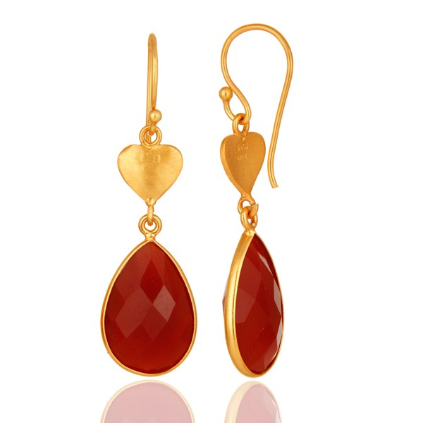 Suppliers Faceted Red Onyx Solid Sterling Silver Bezel-Set Gemstone Drop Earrings