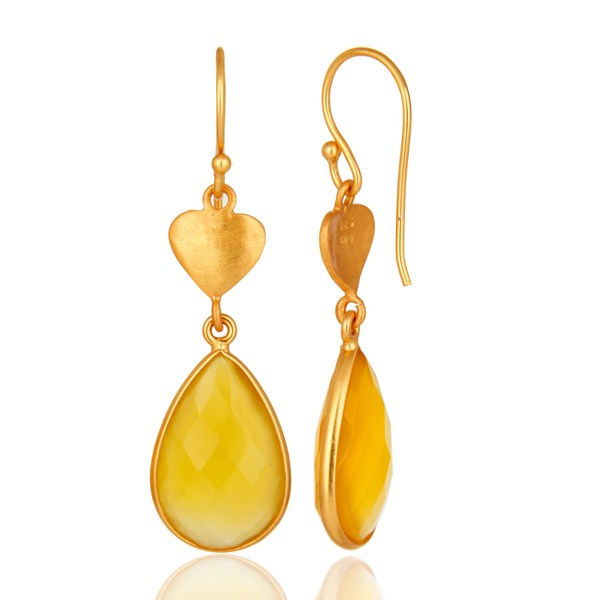 Suppliers 24K Gold On Silver Yellow Chalcedony Gemstone Beautiful Designer Dangle Earrings