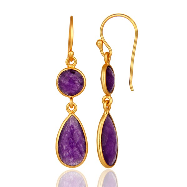 Faceted Purple Chalcedony Sterling Silver Ladies Earrings - Gold Plated From Jaipur India