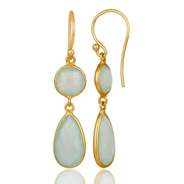 Suppliers 18K Yellow Gold Plated Sterling Silver Handmade Dyed Chalcedony Dangle Earrings