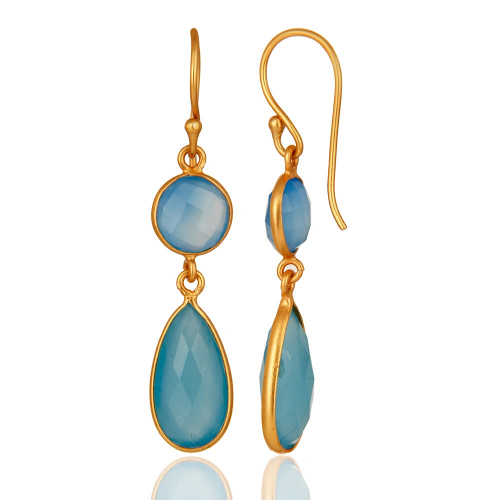 Suppliers Faceted Dyed Blue Chalcedony Gemstone Dangle Earrings In 18K Gold Over Silver