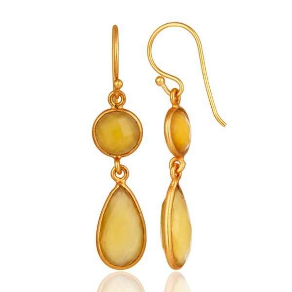 Faceted Yellow Chalcedony Gold Plated Sterling Silver Ladies Earrings From Jaipur India