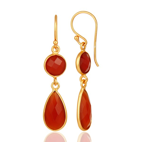 Suppliers 18K Gold Over Sterling Silver Faceted Red Onyx Gemstone Bezel-Set Drop Earrings