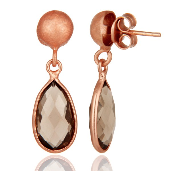 Suppliers 18K Rose Gold Plated Sterling Silver Smoky Quartz Gemstone Drop Dangle Earrings