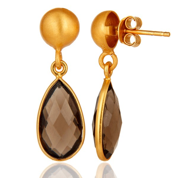 Suppliers Faceted Natural Smoky Quartz Plated Gold Bezel Set Sterling Silver Drop Earring