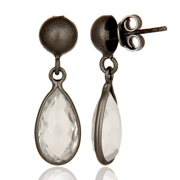 Suppliers Oxidized Solid Sterling Silver Crystal Quartz Gemstone Bezel Set Drop Earrings