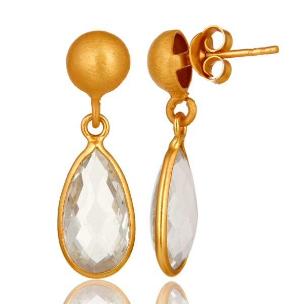 Suppliers 14K Yellow Gold Plated Sterling Silver Crystal Quartz Bezel Set Teardrop Earring
